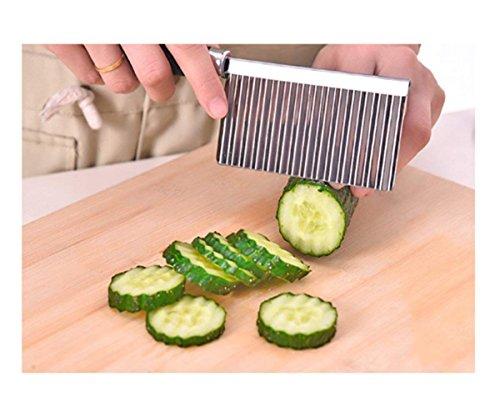 Ndier Coltello guaina vegetale, Coltello guaina di acciaio inox per tagliare patatine, Coltello da cucina in acciaio inox