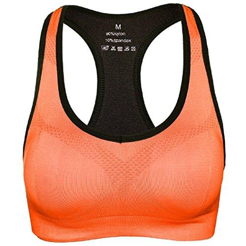 DEBAIJIA Sport BH Starker Halt ohne Bügel Orange Yoga Lauf Fitness Unterwäsche Gepolstert Push Up - M