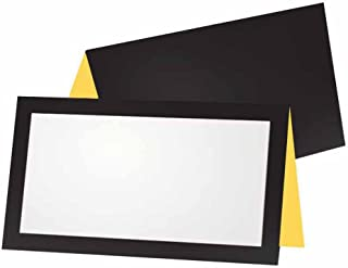 Black and Yellow Place Cards - Tent Style - Stationery Party Supplies - Table Name Seating Placement - Business Office Home Decor Any Occasion Event