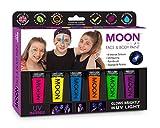 Moon Glow - Intenso Pintura Corporal y Facial 12ml UV GLOW Set de regalo Neón Fluorescente incandescente - Incluye 6 tubos UV-Keyring, Pincel y Esponja.