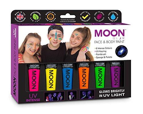 Moon Glow - Intense Néon UV Peinture de Corps et visage Ensemble cadeau - Comprend 6 tubes UV, porte-clés, pinceau et éponge