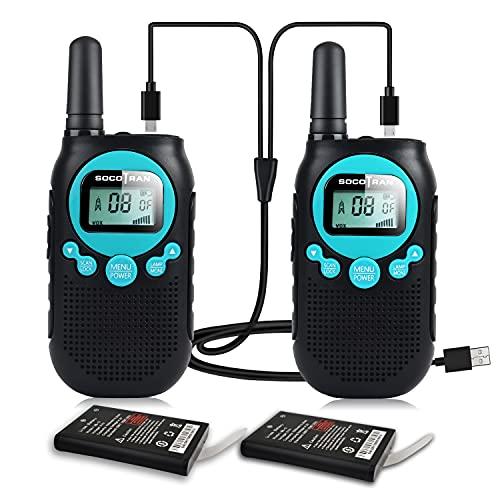 Walkie Talkies Niños Recargable Paquete de 2 PMR446 Radio de 2 vías Sin Licencia para Adolescentes Adultos, con Batería Función de Monitor de Linterna VOX para Acampar, Caminar, Escalar y Esquiar