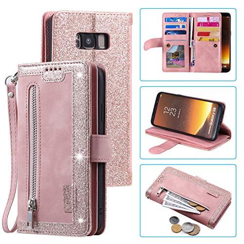 Samsung Galaxy S Series Retro 9 Kartenfächer, Reißverschluss, Handtasche, Samsung Galaxy S9, rose gold
