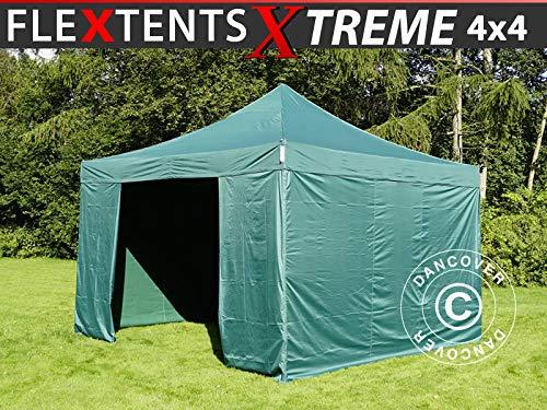 Dancover Carpa Plegable Carpa Rapida FleXtents Xtreme 60 4x4m Verde, Incl. 4 Lados
