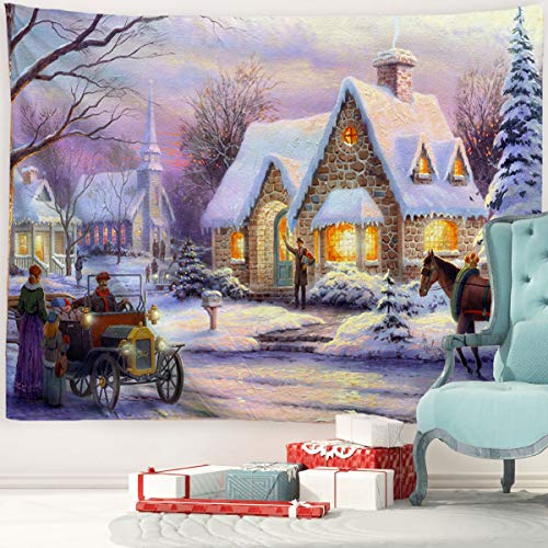 BACCESSOR Christmas Tapestries Wall Hanging,Winter Snow Classic Scene Tapestry Oil Painting ,Christmas Decor For Living Room, Bedroom, Dorm Room - 60'W x 40'L (150cmx100cm) - Snow Night Market