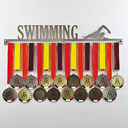 Swimming - Medagliere da Parete Maschile - Porta medaglie Nuoto, Nuoto di Fondo- Sport Medal Hanger - Display Rack (M 450 mm x 80 mm x 3 mm)