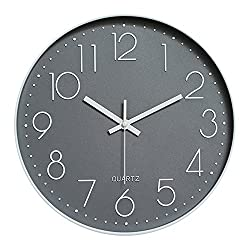 Foyou 12 Inch Silent Non Ticking Quartz Modern Round Battery Operated Decoretive Wall Clock (Gray)