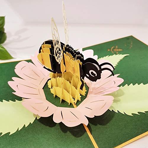 ECOPRO Bee 3D tarjeta de felicitación de regalo emergente, buena suerte y felicitaciones, feliz cumpleaños, solo porque, aniversario, jubilación, agradecimiento (amarillo - abeja)
