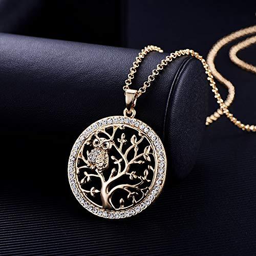 ABRC Árbol pequeño Collar del búho de la Cadena de la Vida Colgante de Oro Rosa de Las Mujeres suéter Largo cristalino Collares Declaración joyería Bijoux