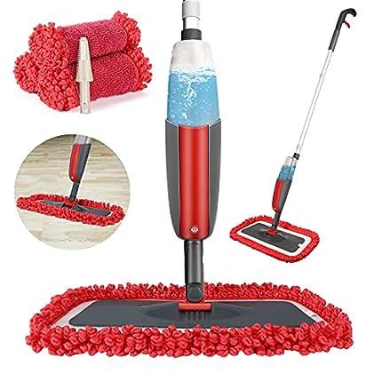 Winpok Mopa con Pulverizador, Spray Mop Función de Pulverización Mopa Pulverizador Giro de 360°, para Limpia Seca y Húmeda para Suelos Laminados, Azulejo y de Madera