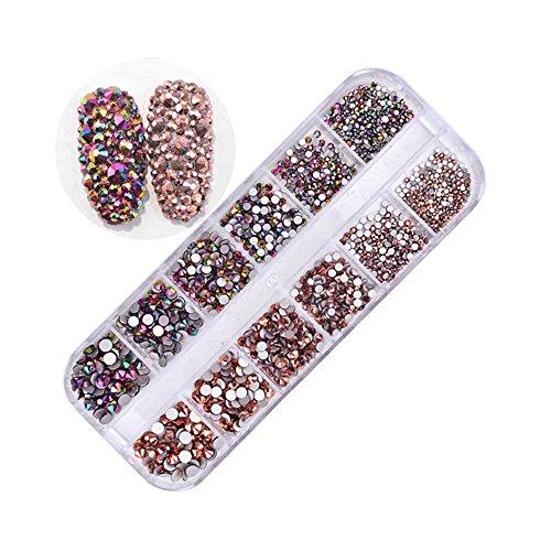 Pure Vie 1440 PZ 3D Brillante Strass Decorazione d'Unghie Borchie Nail Arte Glitter Manicure a Modelli Diversi #3