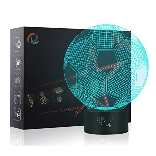 Fútbol Lámpara, Luz nocturna 3D, Lampara LED para niños, 7 colores de iluminación de escritorio táctil con USB, El mejor regalo de los niños