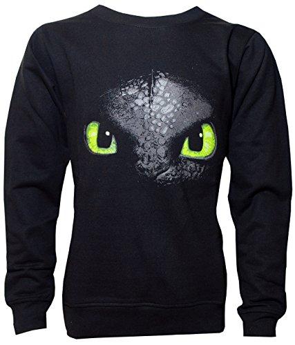 Dragons DreamWorks Kinder Sweatshirt Ohnezahn Toothless, 104 bis 158, schwarz (116/122)