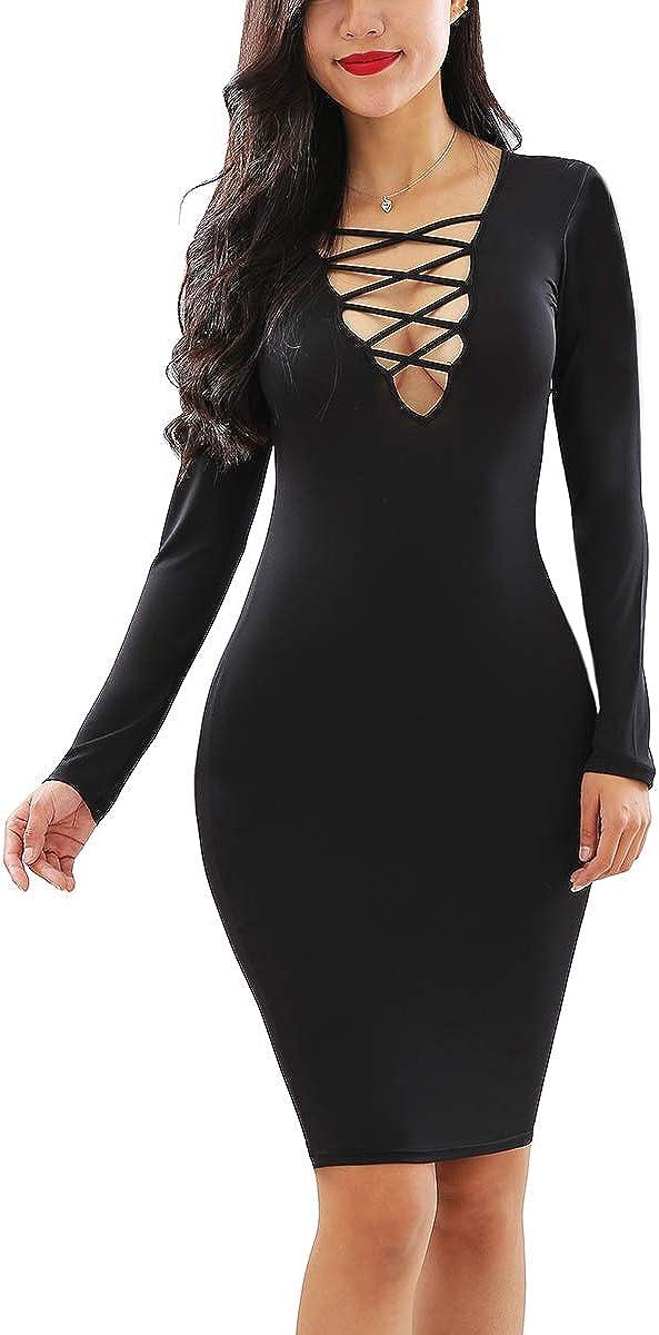 YMING Womens Sexy Criss Cross Neck Bodycon Club Midi Dresses Long Sleeve Party Dress