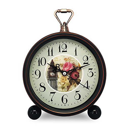 Konigswerk Old Fashioned Desk Alarm Clock, Mantle Clocks Battery Operated for Living Room Kitchen Decor (Clock Tower)