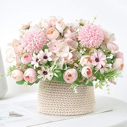 JUN-H 2 Bouquet di Fiori Finti Peonia Artificiale Bouquet da Sposa Artificiale Bouquet di Fiori Artificiali Bouquet Festa di per La Casa Soggiorno Fiore Composizione Floreale Decorazione (Rosa)