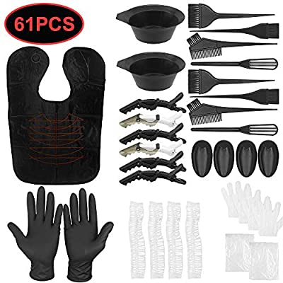 61 Pieces Hair Dye Hair Coloring Kit,Hair Dyeing Tools, Includes Bowl, 30 Disposable Gloves, Dye Brush, Ear Cover, Clips, Caps, Hair Dye Mixer for Hair Coloring DIY Hair Dyeing Salon for Hair Color