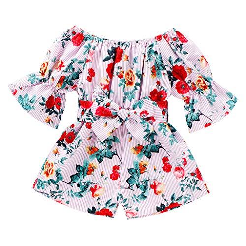 Janly Liquidación Venta Vestidos para niñas de 2 a 7 años de edad, bebé niños niñas de manga corta fuera del hombro vestido de princesa floral para niños pequeños, rosa, 4-5 años