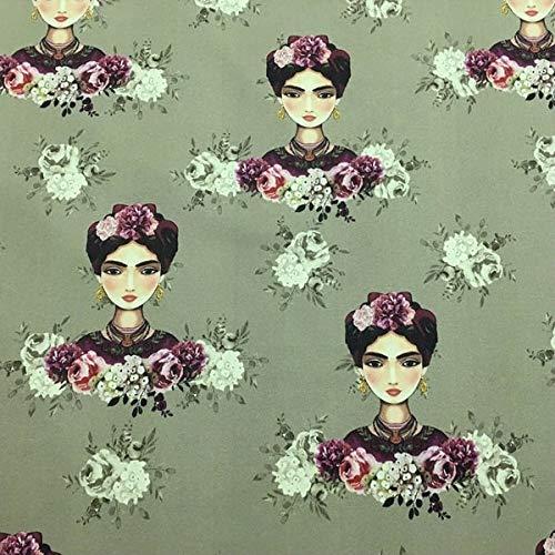 Tela por metros de loneta estampada digital - Half Panamá 100% algodón - Ancho 280 cm - Largo a elección de 50 en 50 cm   Frida Kahlo, verde