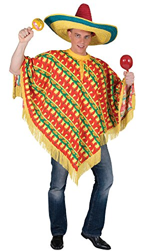 Bristol Novelty AC277 Poncho Kostüm mit Chili-Druck, Mehrfarbig, UK Chest Size 42