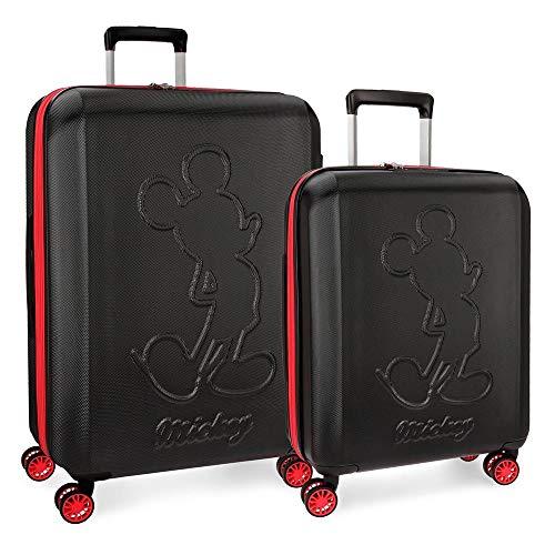 Disney Mickey Colored Juego de maletas Negro 55/70 cms Rígida ABS Cierre TSA 115L 4 ruedas dobles Extensible Equipaje de Mano
