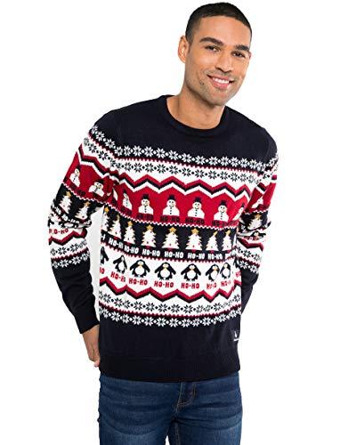 NOROZE - Maglione Unisex, Motivo natalizi multipli, lavorato a maglia, divertente, una Novità Hoho Bonhomme Manchot Marine M