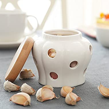 White Ceramic Garlic Keeper, Kitchen Storage Container with Bamboo Wood Lid