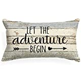 XUWELL Camping Quote Let The Adventure Begin Cotton Linen Throw Pillow Cover, Camping Gifts, Cushion Case for Sofa Bed Home RV Trailer Decor 12 x 20 Inch