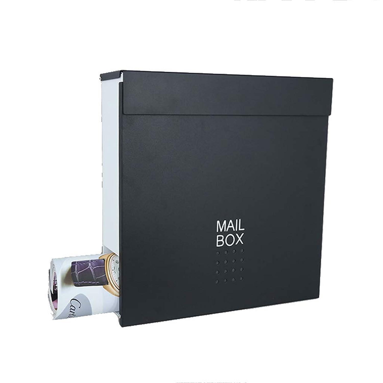 メールボックス、ロック付き屋外壁防水レターボックスメールボックスポストボックスマガジンボックス(カラー:ブラック)