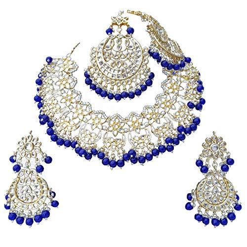 Finekraft Meena Kundan-Perlen-Designer-Schmuckset, vergoldet, Brautschmuck, Hochzeit, Halskette, Ohrringe, Tikka Passa