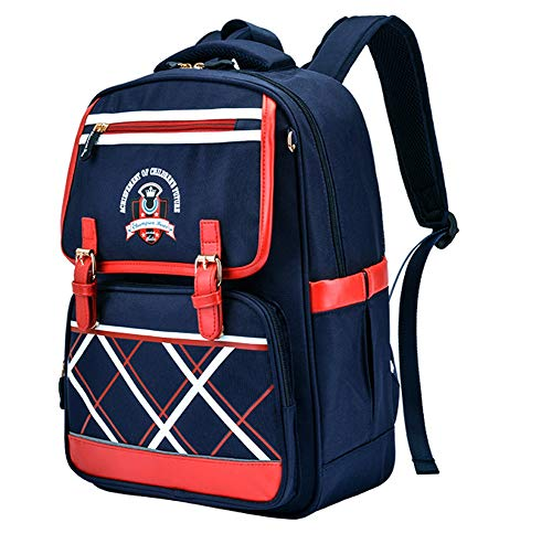 LIEOAGB Primary Book Bag for Boys Girls School Backpack 8-12 Years Old Oxford Waterproof Backpack Children Travel Rucksack, Darkblue, One Size