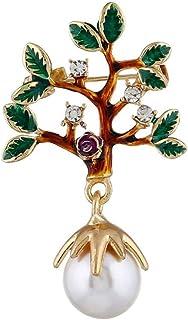 FENICAL Joyería de Perlas de Moda Lucky Tree Solapel Pins Broche Broche de Collar de Cristal de Color Verde Broches para M...