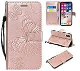 FEYYXI Handyhülle für iPhone XS Case/iPhone X Hülle Leder Schutzhülle Brieftasche mit Kartenfach Stoßfest Handyhülle Case für Apple iPhone XS/iPhone X - FEKT40108 Rosa Gold