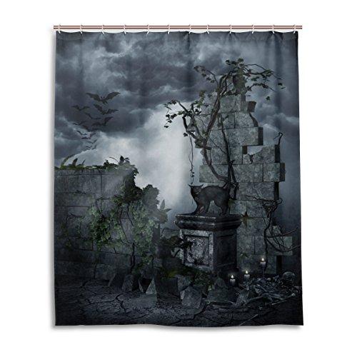 Bad Vorhang für die Dusche 152,4x 182,9cm Gothic Grabstein schwarz Katze Dark Bat Wolken Nacht Art Polyester-Schimmelfest-Badezimmer Vorhang