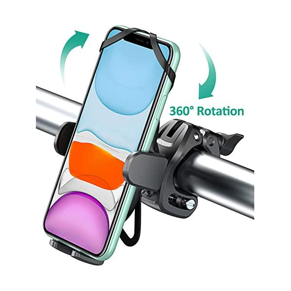 Bovon Bike Phone Mount with 360° Rotation, Universal Adjustable Motorcycle Phone Mount Compatible with iPhone SE/11 Pro Max/11 Pro/11/XS/XS Max/XR/8/7, Samsung S20/S20 Plus