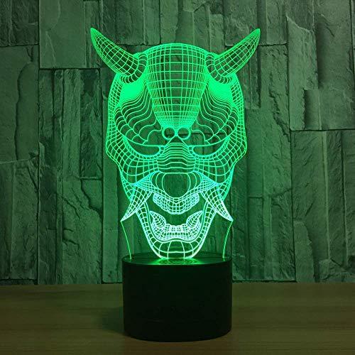 MQJ Halloween spöke 3D nattlampa för barn pojkar flickor gåva 3D-illusionslampa för sovrum bredvid bordet, 16 färgskiftande LED-humörlampa skrivbordslampa barngåva