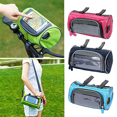 1PC Waxed Canvas Bicycle Top Tube Bag Bike Handlebar Basket,Mountain Bike Touch Screen Front Handlebar Bag Phone Holder Pouch Pannier,Blue
