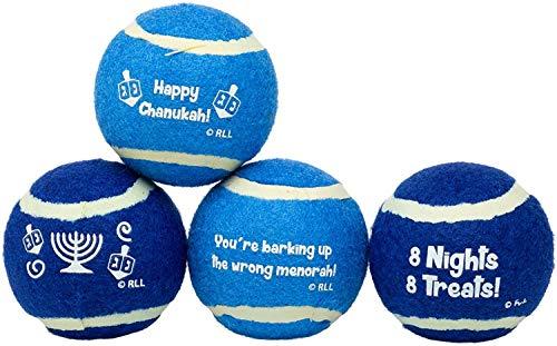 Rite Lite CHEWDAICA TM, Set of 4 Chanukah Tennis Balls Dog Toy, Blue/White, 4 Count Hanukkah