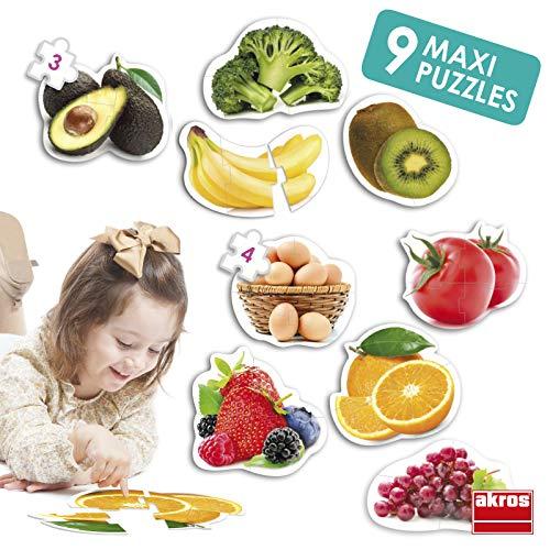 Akros (AKRP1) Maxi Puzzles Healthy Foods Rompecabezas, Multicolor INTERDIDAK SL AKROS_50222