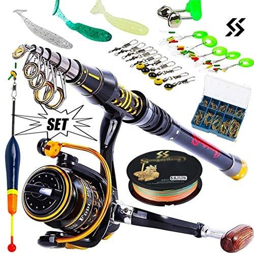 Telescópica de Pesca Rod del mar de Giro del Carrete de Pesca de Pesca cebos Ganchos de Agua Salada de Agua Dulce Profesional Rod Kits completos (tamaño : 2.7m and 3000 Kits)