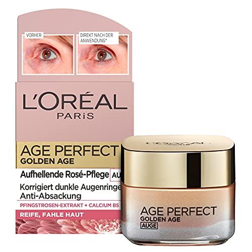 L'Oréal Paris Augenpflege, Age Perfect Golden Age, Anti-Aging Augencreme, Aufhellung und Anti-Absackung, Für reife und fahle Haut, Mit Pfingstrosen-Extrakt und Calcium B5, 15 ml