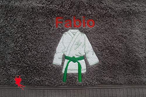 Karate Handtuch bestickt mit Motiv und Name Karatehandtuch Karateanzug