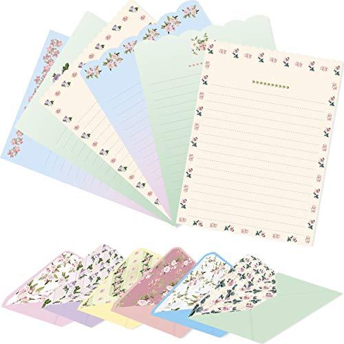 Stationery Paper and Envelopes Set 48 PCS Letter Writing 24 PCS Envelopes Floral Stationary for School