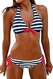 PANOZON Bikinis Mujer Bañador Sexy Traje de Baño Push Up Colgando al Cuello 2 Colores Opcionales (XX-Large, Azul-1)