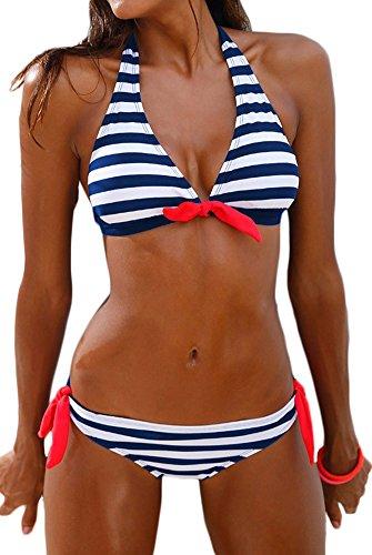 PANOZON Frauen Streifen Taillierte Badeanzug Split Damen Bademode Set Bikini(X-Large,Blau Weiss)