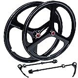 iMeshbean New 26' MTB Bike Mag Magnesium Wheels 3-Spoke Set Rim Wheelset 6/7/8/9/10 Gears (8/9/10 Speed Wheelset)