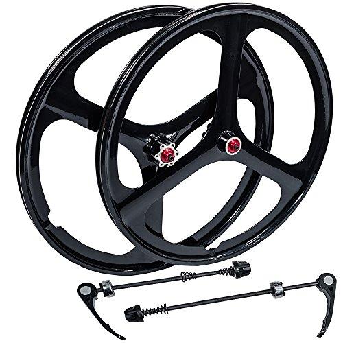 "iMeshbean New 26"" MTB Bike Mag Magnesium Wheels 3-Spoke Set Rim Wheelset 6/7/8/9/10 Gears (8/9/10 Speed Wheelset)"
