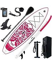 "FW Opblaasbare 10'6×33""×6"" Ultra-Licht (17.6lbs) SUP voor alle vaardigheidsniveaus Alles inbegrepen bij stand-up Paddle Board, Adj Paddle, Pomp, ISUP Travel Backpack, Leash, Waterdichte tas"