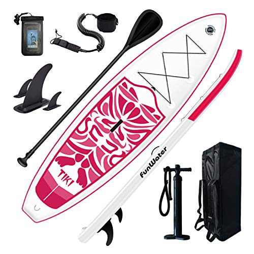 FunWater Inflatable 10'6×33'×6' Ultra-Light SUP for All Skill Levels Everything Included with Stand Up Paddle Board, Adj Paddle, Pump, ISUP Travel Backpack, Leash, Waterproof Bag