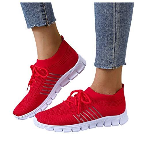 Fannyfuny Damen Mesh Sneaker Canvas Flache Schuhe Frauen Weicher Boden Sportschuhe Leicht Atmungsaktive Schuhen Sommer Herbst Turnschuhe Straßenlaufschuhe Luftkissen Fitness Walkingschuhe Casual